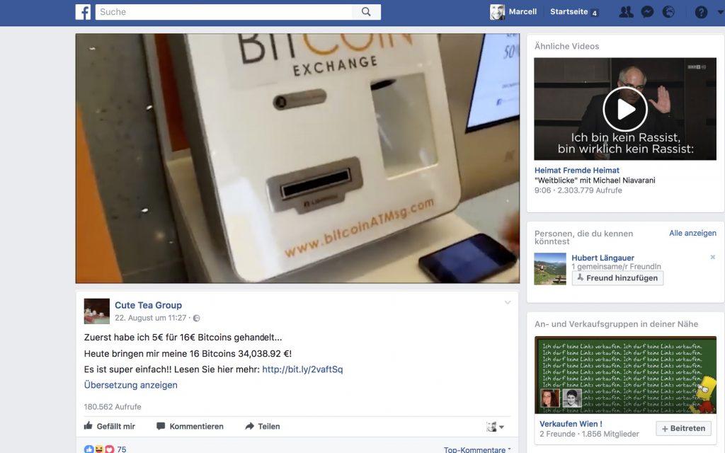 Betrug-Alarm: Facebook Werbung Cute Tea Group