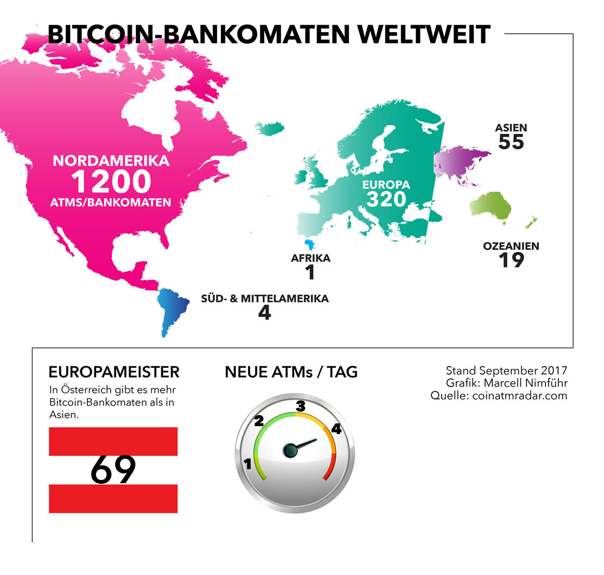Bitcoin Bankomaten weltweit - Infografik